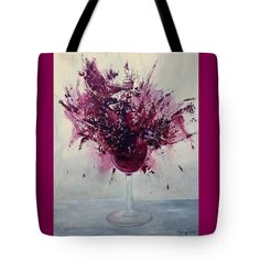 WINE BOUQUET Tote Bag for sale by T Fry-Green. $26.00  The tote bag is machine washable, available in three different sizes, and includes a black strap for easy carrying on your shoulder.  All totes are available for worldwide shipping and include a money-back guarantee. #winebouquet #alcohol #wine #wineglass #purple #splash #redwine #fashionbag #tfrygreenart #tfrygreen #homeatlaststudio #art #original #tote #toteart #fineartamerica