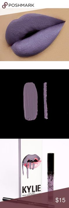 Kylie Jenner Grape Soda lip kit Grape Soda is a light grey purple.  Each Lip Kit contains:   1 Velvet Liquid Lipstick (0.11 fl oz./oz. liq / 3.00 ml) 1 Pencil Lip Liner (net wt./ poids net  .03 oz/ 1.0g) The #KylieCosmetics Lip Kit is your secret weapon to create the perfect 'Kylie Lip.' Each Lip Kit comes with a Velvet Liquid Lipstick and matching Lip Liner.  Lip Liner This ultra-long wearing Lip Liner has a creamy texture that glides across the lips for a very easy and comfortable…