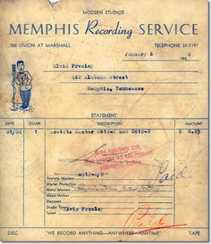 JANUARY 6 1954 Acetate Receipt - I'll Never Stand in Your Way / It Wouldn't Be the Same Without You