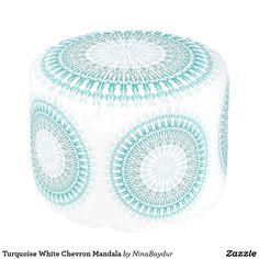 Turquoise White Chevron Mandala Pouf