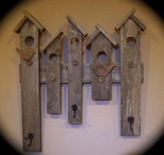 RUSTIC COAT HAT RACK RECLAIMED WOOD BIRD HOUSE DESIGN ENTRY WALL DECOR HANDMADE by Audrey Stromberg