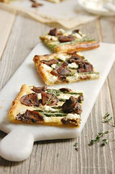 Asparagus Tart with Balsamic Mushrooms and Goats Cheese