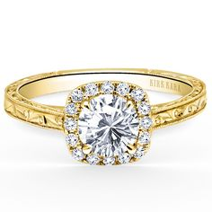 "Kirk Kara ""Carmella"" Cushion Halo Round Cut Diamond Engagement Ring with Hand Engraving"