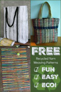 In honor of Earth Day, 3 free projects for sustainable weavers! Learn how to upcycle yarn out of t-shirts & plastic bags and get weaving! Plastic Bag Crafts, Recycled Plastic Bags, Recycled Yarn, Recycled Crafts, How To Recycle Plastic, T Shirt Weaving, T Shirt Yarn, Hand Weaving, Circle Crafts