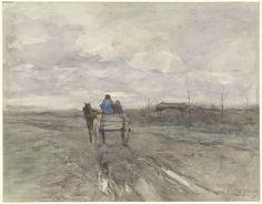 Boerenkar op een landweg, Anton Mauve, 1848 - 1888