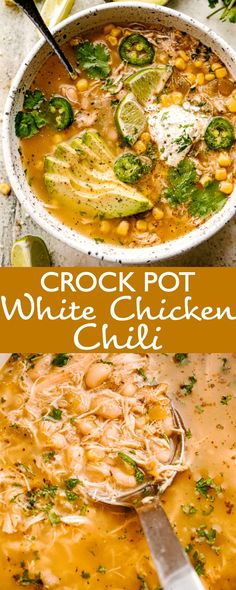 This easy Crock Pot White Chicken Chili recipe is packed with all the Southwestern flavors that we love and it is beyond delicious! Healthy and chock full of chicken corn beans and beer for good measure. Sopa Crock Pot, Crock Pot Cooking, Crock Pot Chili, Easy Healthy Recipes, Easy Meals, Healthy Crockpot Soup Recipes, Crock Pot Healthy, Chicken Recipes Easy Crock Pot, Healthy Meal Prep
