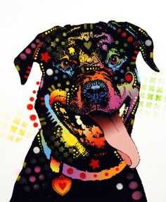 Happy Rottweiler Painting by Dean Russo -