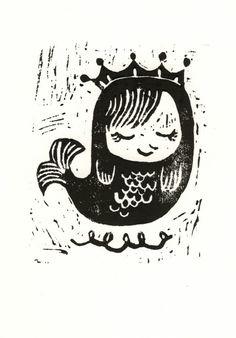 Little mermaid Linocut