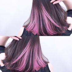 Trendy Ideas For Hair Dyed Ombre Pink Hair Color Streaks, Ombre Hair Color, Cool Hair Color, Hair Highlights, Hair Color Underneath, Korean Hair Color, Creative Hair Color, Pink Hair, Dyed Hair
