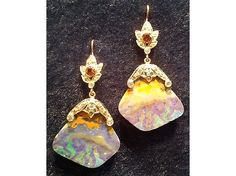 Boulder Opal Earrings with Blue & White Diamond Accents, Honey-Citrine Top $2,700.00