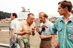 Colin Chapman and a young Ron Dennis in overalls.....