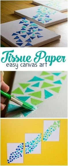 Tissue paper canvas art is fun to make and quick and easy. It's the perfect effortless art project for your home, or a great teen sleepover project! art diy Easy Tissue Paper Canvas Art - Mama Plus One Art Ideas For Teens, Arts And Crafts For Teens, Art Projects For Adults, Easy Art Projects, Arts And Crafts Projects, Art For Kids, Craft Ideas For Adults, Simple Craft Ideas, Disney Crafts For Adults