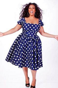 JIBRI Plus Size Polka Dot Swing Dress (Navy) -