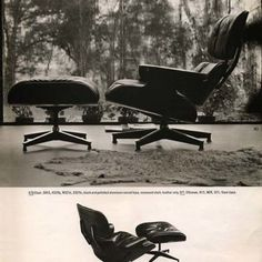 Eames Lounge Chair and Ottoman | Eames Office  Photograph taken by Charles and Ray Eames in the #eameshouse living room