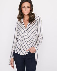 RW&CO. | Striped wrap blouse | Spring 2018 Blouse Wrap, Shirt Cuff, Slim Legs, Long Sleeve, Shopping, Clothes, Color, Commercial, Tops