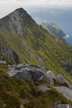 ✿ ڿڰۣ Cliffs of Croaghaun, County Mayo, Ireland. It has the highest sea cliffs in Ireland and Great Britain as well as the third highest sea cliffs in Europe.