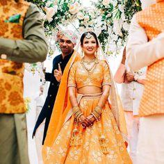 Sabyasachi Inspired Designer Summer Wedding Outfits For Grooms & Brides Of Summer Wedding Outfits, Bridal Outfits, Wedding Attire, Wedding Dresses, Bridal Lehenga, Lehenga Choli, Floral Lehenga, Orange Lehenga, Sabyasachi Bride