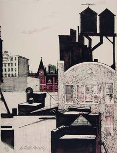 Artist's Housing, lithography by Michael Pellettieri, 1993