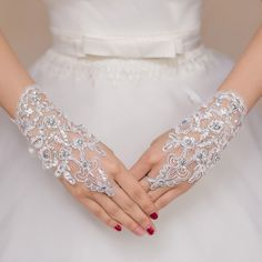 Buy Short #Bridal #Gloves Fingerless White Red Ivory Three Colors Cheap Accessories Women Wedding Lace Fingerless Gloves