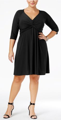 Plus Size Knotted Fit & Flare Dress