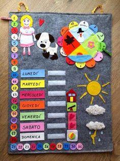 Calendario Classroom Calendar, Kids Calendar, Academic Calendar, Kindergarten Activities, Activities For Kids, Crafts For Kids, Reward System For Kids, Diy Quiet Books, Felt Crafts