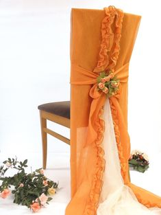 Orange wedding chair decoration cover party by ClassyInteriorsDeco, $34.00