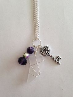 White Sea Glass Charm Necklace with Key Charm by DayDreamingDecor, $15.00