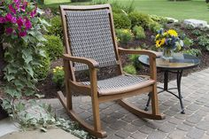 The Outdoor Interiors Eucalyptus Hardwood and Grey Wicker Rocker provides an extra wide comfortable seat and great rocking action. This resin wicker and eucalyptus wood Rocking Chair is made from sustainable, plantation grown Brazilian eucalyptus for Outdoor Rocking Chair Cushions, Wicker Rocker, Wooden Rocking Chairs, Rocking Chair Porch, Patio Seating, Patio Chairs, Outdoor Chairs, Room Chairs, Outdoor Spaces