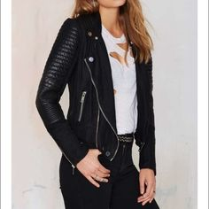 Blank NYC moto jacket SALE will be removing Monday I bought this at the beginning of my pregnancy thinking it would fit me after. It did not... I should have bought a medium . This is in perfect condition, only wore twice! Price is firm since I would keep this if it were a tad bigger for me, and it's practically new. Blank nyc  Jackets & Coats