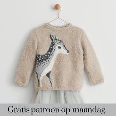 Gratis patroon op maandag - Breipatroon kindertrui met hert. Ontvang ieder maandag het gratis patroon en een leuke aanbieding van het garen.