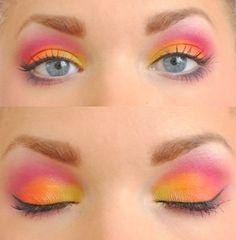 Yellow, Orange, Pink and Purple #makeup