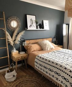 Inspirational ideas about Interior Interior Design and Home Decorating Style for Living Room Bedroom Kitchen and the entire home. Curated selection of home decor products. Room Ideas Bedroom, Home Decor Bedroom, Brown Bedroom Decor, Green Bedroom Colors, Black Master Bedroom, Urban Bedroom, Grey Bedroom With Pop Of Color, Bedroom Beach, Budget Bedroom