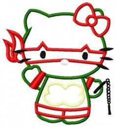 Ninja Kitty Applique Embroidery Design