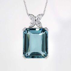 Gorgeous Estate 31.15ct t.w. Blue Quartz & Marquise Diamond Pendant 18k | Antique & Estate Jewelry | Jewelry Finds $4200.00
