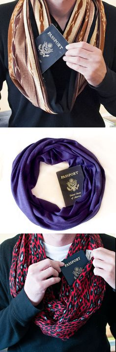 No pickpockets here! Easy to adapt any scarf, rather than purchase. Hide your passport & money when you travel in a very clever way with Speakeasy Travel Scarves. Packing Tips For Travel, Travel Essentials, Travel Bags, Travel Ideas, Packing Hacks, Passport Travel, Packing Ideas, Diy Voyage, Creation Couture