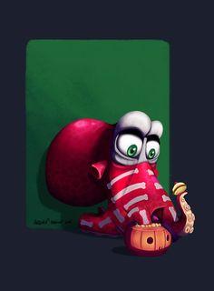 Pieuvre halloween by ArtOfRebornDesign on DeviantArt #Drawlloween Jour 4 - Tentacle Tuesday (Mardi Tentacule) Une petite #illustration d'une pieuvre#cartoon qui se déguise pour Halloween en squelette et mange des sucreries ! Réalisé sous#photoshop :)