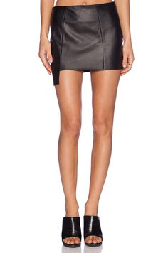ARE YOU AM I Raw Edge Leather Skirt in Black