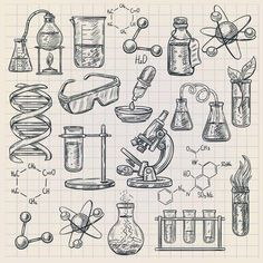 Buy Chemistry Icon In Doodle Style by macrovector on GraphicRiver. Chemistry icon in doodle style with burner flask dna structure and formulas of organic substances isolated vector ill. Chemistry Drawing, Chemistry Tattoo, Science Drawing, Chemistry Classroom, Chemistry Humor, Science Tattoos, Science Chemistry, Science Art, Dna Drawing