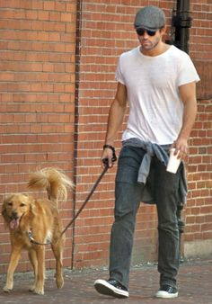 Ryan Reynolds walking his dog in Boston