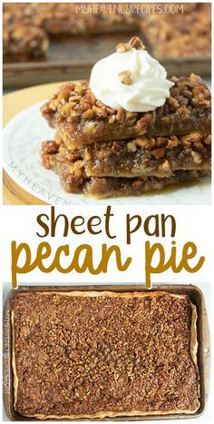 Sheet Pan Pecan Pie- easy one cookie sheet dessert recipe. Fall or thanksgiving pecan pie recipe. Delicious treat for parties. Sheet Pan Pecan Pie- easy one cookie sheet dessert recipe. Fall or thanksgiving pecan pie recipe. Delicious treat for parties. Pecan Desserts, Easy Desserts, Health Desserts, Thanksgiving Desserts Easy, Fall Dessert Recipes, Holiday Desserts, Thanksgiving Sides, Dinner Recipes, Best Pecan Pie Recipe
