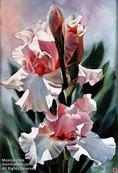 Pink Irises by Monika Pate Watercolor ~ 28 x 20