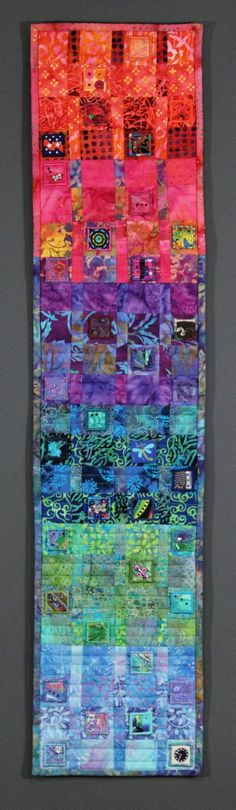 "Hidden Treasures, 9 x 36"", a swap quilt made with inchies.  Colorful batiks. Kathleen Murphy Designs:"