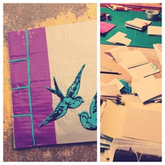 bookingmaking for kids - duct tape covers.  http://www.thearterydenver.com/  the ARTERY Denver