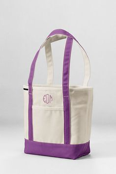 Medium Open Top Long Handle Canvas Tote Bag from Lands' End