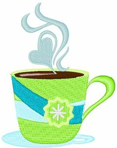 For a sleepy Monday morning...Coffee Mug embroidery design