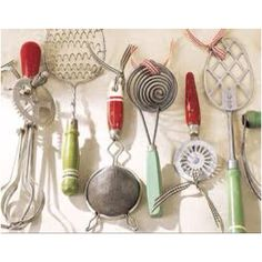 Vintage fun kitchen gadgets! I have most of these with the same colors! Love the red and green!  Perfect to display in a wooden box as a table centerpiece!