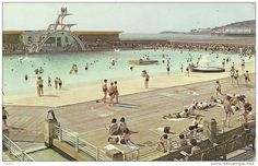 Well look at that, the old lido (later the Tropicana) with the Grand pier and Birnbeck pier in the distance, all at Weston super Mare. You didn't want to belly flop off that top board! Weston Super Mare, Visit Devon, North Somerset, British Seaside, Bristol City, Local History, Places Of Interest, Old Postcards, Vintage Travel Posters