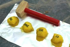 """Use a wooden or plastic hammer from a """"pounding"""" toy to help kids learn letters or sight words with this fun activity using baked cotton balls! http://www.icanteachmychild.com/2012/09/name-and-sight-word-smash/#"""