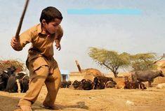 Pakistani Village Life: A little boy playing Gulli Danda in a Village - Photos of Pakistani Villages, Pictures of Pakitani Villages