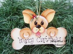 Handpainted Wooden Fawn Chihuahua Christmas  Ornament